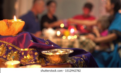 Happy hindu family celebrate Diwali. Festival of Lights. Diwali, or Dipawali, is India's biggest and most important holiday