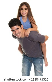 Happy hispanic father carrying her small daughter - Isolated on white