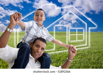 Happy Hispanic Father and Son Over Grass Field, Clouds, Sky and House Icon.