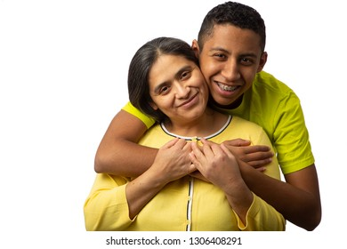 Happy Hispanic Mother with Teenage Son Isolated on White Background