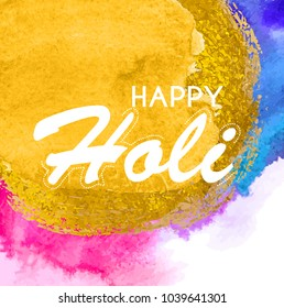 Happy Holi  abstract colorful  background.  Illustration