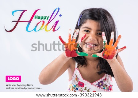 Greetings holi cute baby pictures picturesboss happy holi greeting cute little indian girl with colourful hands isolated over white background jpg 450x320 m4hsunfo