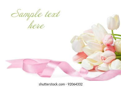 Happy Holiday greeting card with pink and white tulips and  pink ribbon