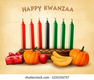 Happy Holiday Kwanzaa background with seven candles, gift box, pumpkins and old paper. Vector illustration