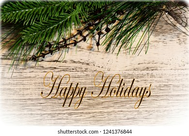 Happy Holidays Greeting card with decorations and text