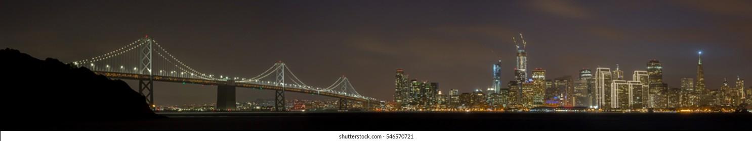 Happy Holidays Lights of San Francisco Bay Bridge and Skyline. Treasure Island, San Francisco, California, USA.