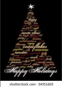 happy holidays and other words in the shape of a christmas tree