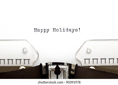 Happy Holidays written on an old typewriter.