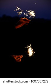 happy holidays.Vintage flim grain Style. Abstract blur background,woman hand holding a burning sparkler light with purple sky background.closeup in female hand in dark.