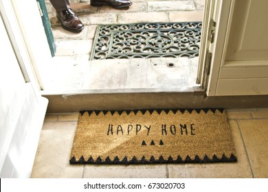 Happy Home carpet in house porch welcome