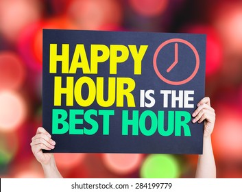Happy Hour is the Best Hour card with bokeh background