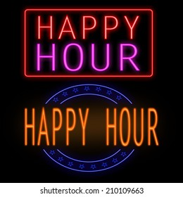 Happy hour glowing neon sign on black background