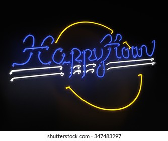 Happy hour neon 3d sign on black background