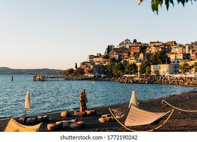 Happy Hour on the shores of Lake Bracciano at Anguillara, Italy