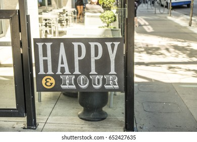 Happy Hour sign  at restaurant