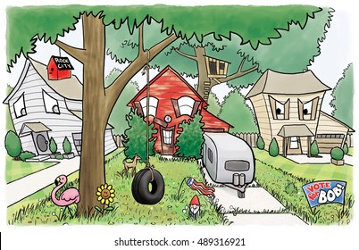 A happy house is breaking all the homeowner's association rules, to the dismay of its neighbor houses.