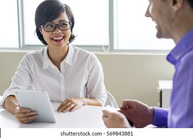 Happy hr manager having interview with candidate