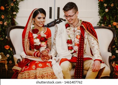 Happy indian brides rejoice in the day of their wedding