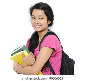 Happy Indian college student/girl.