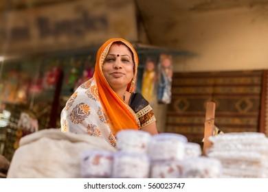 Happy indian hindu woman