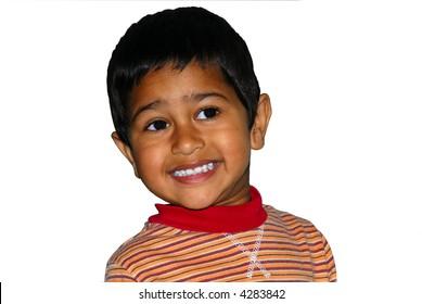 Happy Indian kid isolated on white back ground