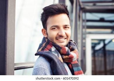 Happy indian student hipster indoor