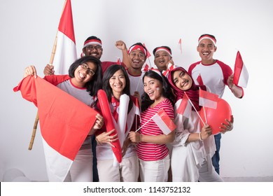 happy indonesian youth celebrating national independence day