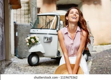 happy Italian woman