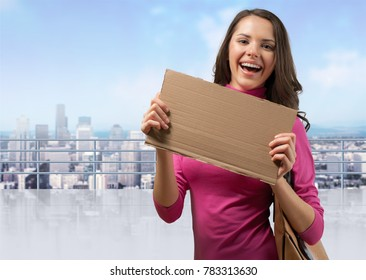 Happy Jobseeker with blank Sign