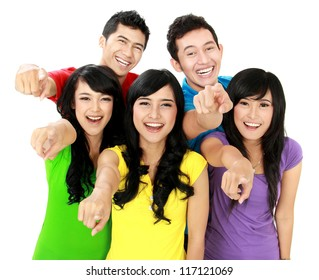 Happy joyful group of friends cheering pointing at camera
