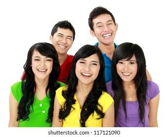Happy joyful group of friends cheering wearing colorful shirt