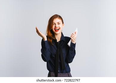 Happy joyful office worker on a white background