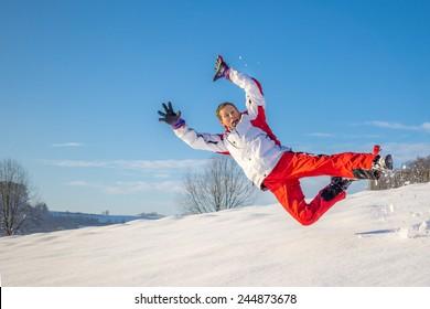 happy jump in the snow