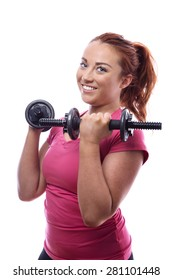 happy keep fit woman lifting dumbbells