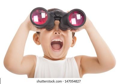 Happy kid with binoculars