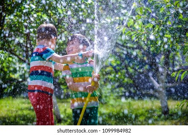 Happy kid boy pours water from a hose. Boys having fun with watering fruit garden in village outdoors. Funny holiday leisure water for children.