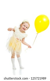 happy kid girl with balloon on white background