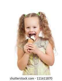 happy kid girl eating ice cream