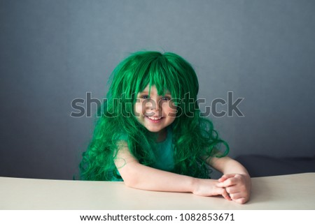Happy Kid Green Wig Stock Photo (Edit Now) 1082853671 - Shutterstock 00e8c39a46cc