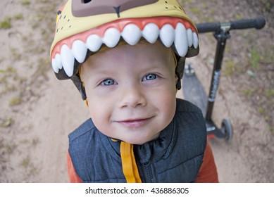 Happy kid in helmet