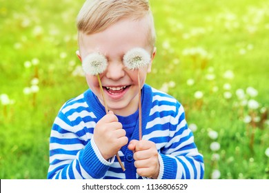 Happy kid laughing.Close up portrait joy child.Little cute boy playful smiling holding dandelions on eyes as eyeglasses. Joyful childhood,funny summer day,outdoors.Emotion face.Background green grass