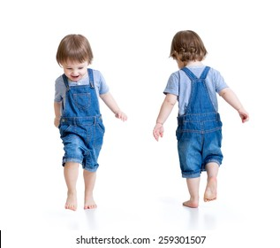 Happy kid little boy running, isolated on white. Front and rear view.
