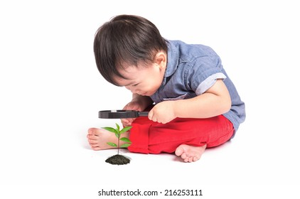 happy kid with magnifying glass, exploring the environment isolated on white background