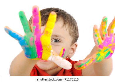 Happy kid with paints on hands
