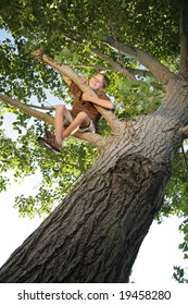 happy kid sitting high up in a tree