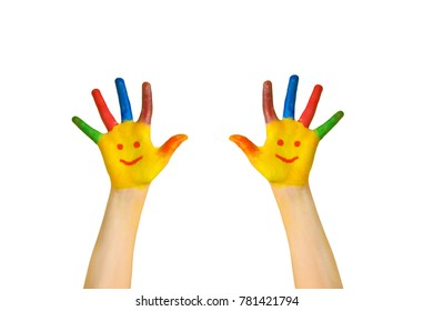 Happy kids. Children's painted hands with smiling faces. Kids hands and palms painted smileys. Ready for logo or text. Joy, excellent, perfectly, fine, school concept. Isolated on white background.