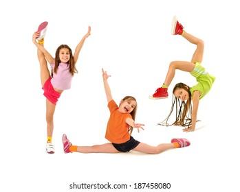 Happy kids doing exercises