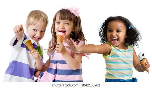 happy kids group eating ice cream isolated on white