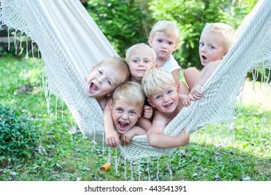 Happy kids in hammock
