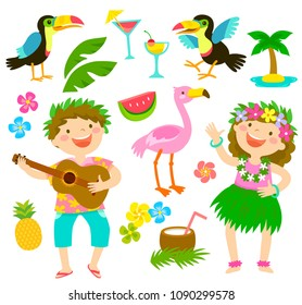 Happy kids with Hawaiian outfits together with tropical themed items.